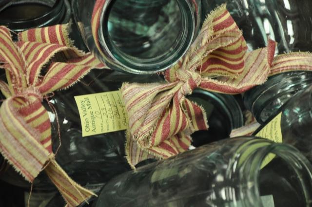 Teal mason jars looking like Christmas!